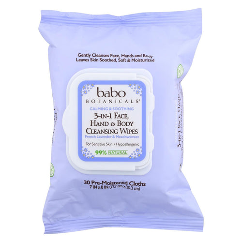 Babo Botanicals Hand And Body Cleansing Wipes - Lavender And Meadowsweet - Case Of 4 - 30 Count
