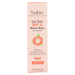 Babo Botanicals - Tinted Lip Balm - Beach Rose - Case Of 12 - .15 Oz.