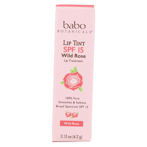 Babo Botanicals - Tinted Lip Balm - Wild Rose - Case Of 12 - .15 Oz.