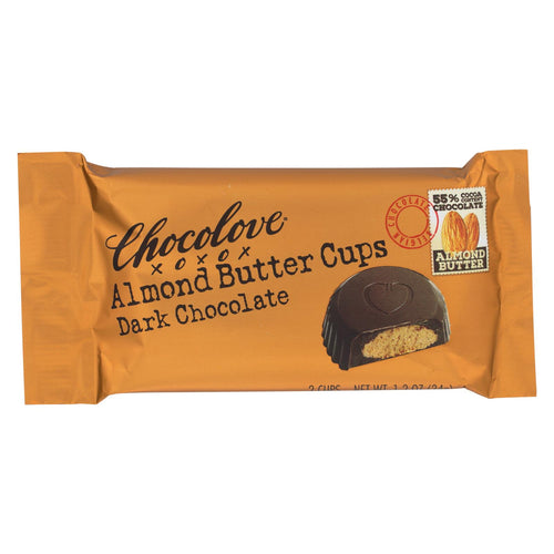Chocolove Xoxox - Cup - Almond Butter - Dark Chocolate - Case Of 12 - 1.2 Oz