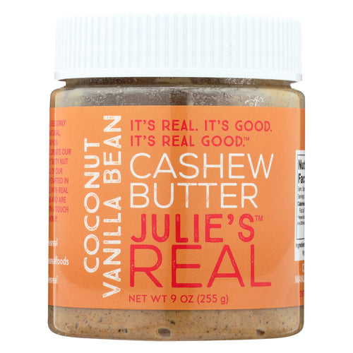 Julie's Real Cashew Butter - Coconut Vanilla Bean - Case Of 6 - 9 Oz.