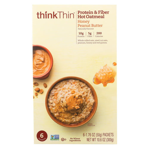 Think! Thin Protein And Fiber Oatmeal - Honey Peanut Butter - Case Of 6 - 6-1.76oz