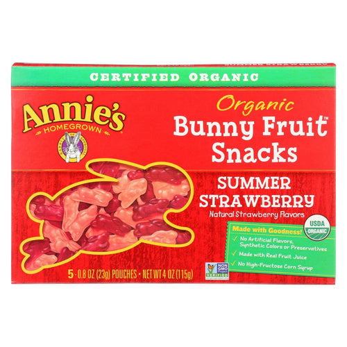 Annie's Homegrown Fruit Snack Summer Strawberry - Case Of 10 - 4 Oz
