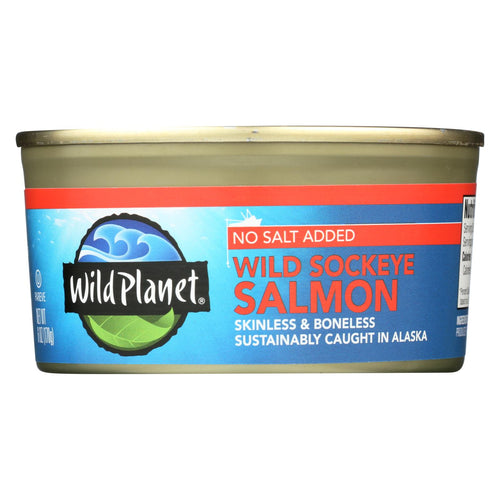 Wild Planet Wild Sockeye Salmon - No Salt Added - Case Of 12 - 6 Oz