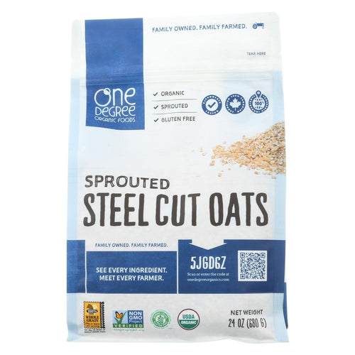 One Degree Organic Foods Organic Steel Cut Oats - Sprouted - Case Of 4 - 24 Oz