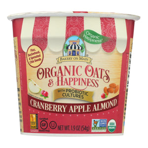 Bakery On Main Oats And Happiness Oatmeal Cup - Cranberry Apple Almond - Case Of 12 - 1.9 Oz.