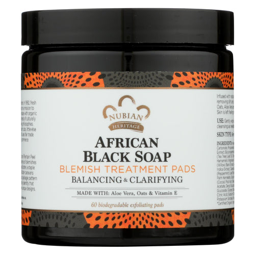 Nubian Heritage Clarifying Pads - African Black Soap - 60 Count