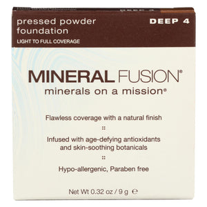 Mineral Fusion - Pressed Powder Foundation - Deep 4 - 0.32 Oz.