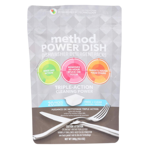 Method - Power Dish Dishwasher Detergent Packs - Free And Clear - 20 Packs - Case Of 6 - 10.5 Oz.
