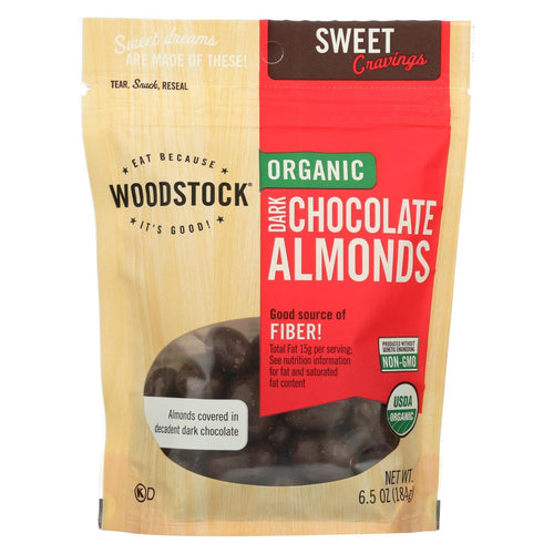 Woodstock Organic Dark Chocolate Almonds - 6.5 Oz.