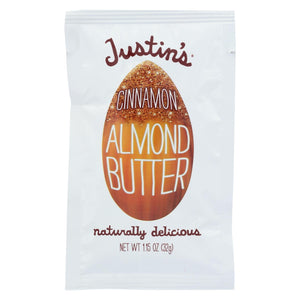 Justin's Nut Butter Squeeze Pack - Almond Butter - Cinnamon - Case Of 10 - 1.15 Oz.