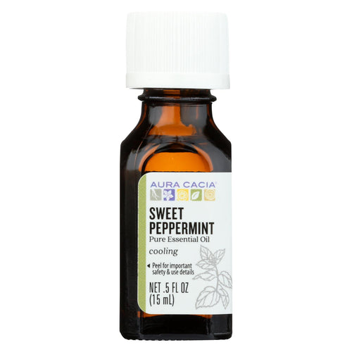Aura Cacia Essential Oil - Peppermint, Sweet - Case Of 1 - .50 Fl Oz.