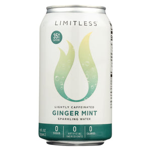 Limitless Coffee Sparkling Caffeinated Water - Ginger Mint - Case Of 1 - 8-12 Fl Oz.