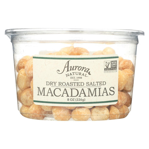 Aurora Natural Products - Dry Roasted Salted Macadamias - Case Of 12 - 8 Oz.