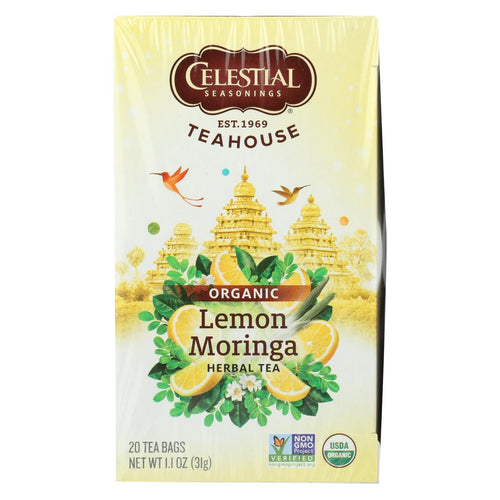 Celestial Seasonings - Organic Tea - Teahouse Lemon Moringa - Case Of 6 - 20 Bags