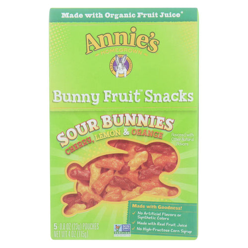Annie's Homegrown - Bunny Fruit Snacks - Sour Bunnies - Case Of 10 - 4 Oz.