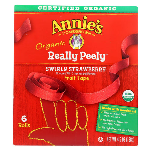 Annie's Homegrown - Really Peely Fruit Tape - Swirly Strawberry - Case Of 8 - 4.5 Oz.