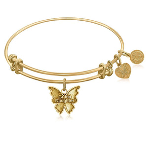 Expandable Bangle in Yellow Tone Brass with Grand Daughter Symbol