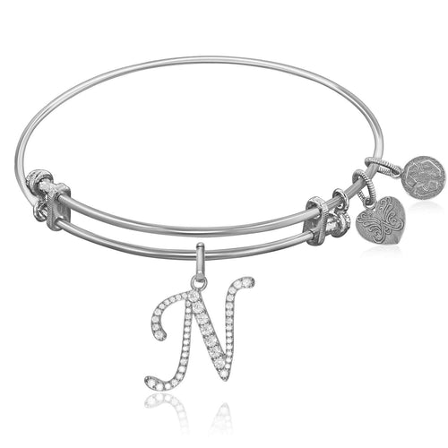 Expandable White Tone Brass Bangle with N Symbol with Cubic Zirconia