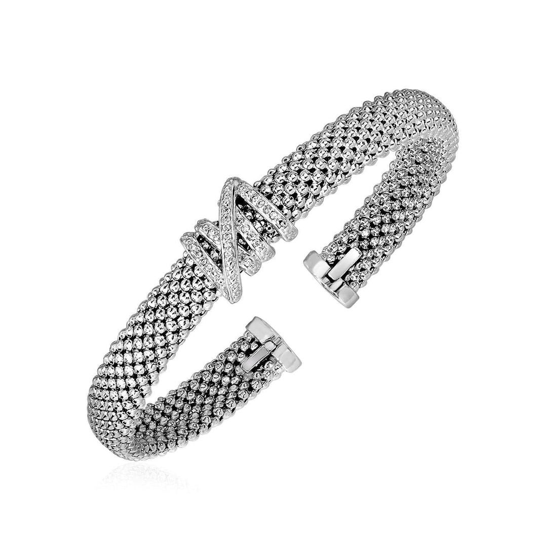 Popcorn Texture Cuff Bangle with Diamonds in Sterling Silver