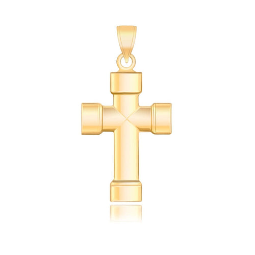 14k Yellow Gold Cross Pendant with Block Like Ends