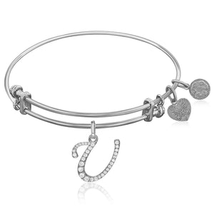 Expandable White Tone Brass Bangle with U Symbol with Cubic Zirconia