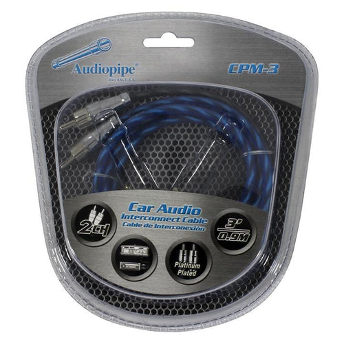 Audiopipe Platinum Plated Interconnect Cable 3ft