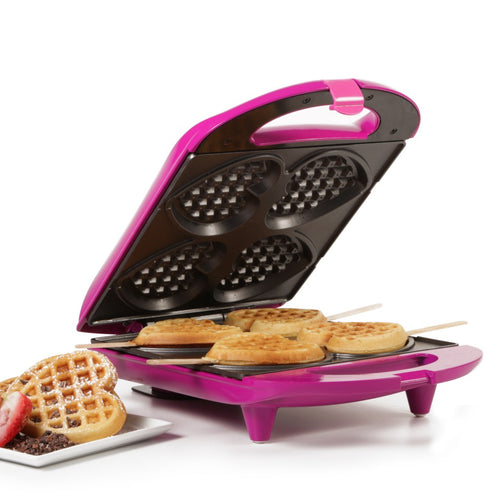 Holstein Housewares Heart Shaped Waffle Maker Magenta