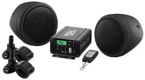"Boss Motorcycle-utv Speaker And Amplifier System Usb-sd-fm 3"" Waterproof Speakers Black"