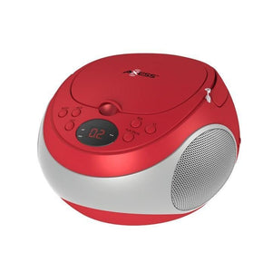 Axess Stereo Cd Player Am-fm Radio Led Display Headphone Jack Ac Power Batteries Not Included Red