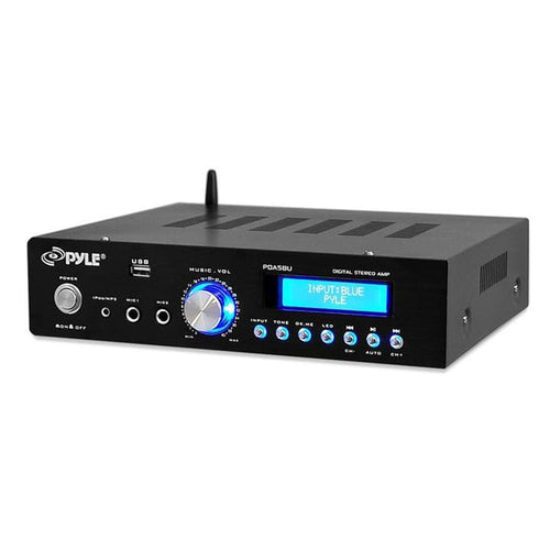 Pyle Bt Stereo Amplifier Reciever Am-fm Radio Usb Flash Reader 3.5mm Aux Lcd Display 200w