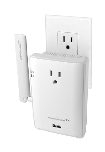 Amped High Power Plug In Wi Fi Range Extender Pass Thru Outlet Usb Charging