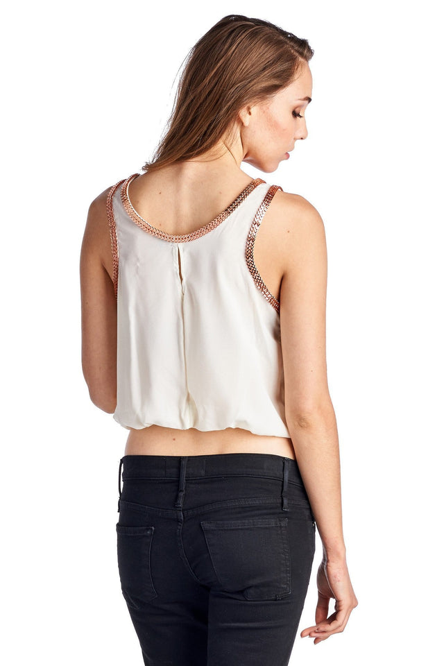 Women's Woven Bubble Tank With Gold Trim