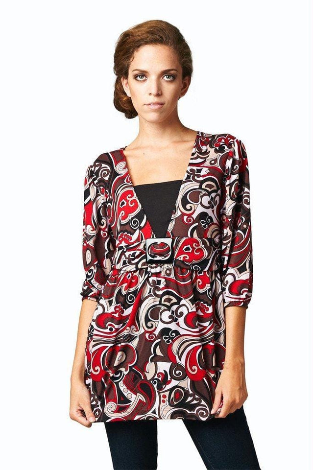 Women's Abstract Printed Surplice Top