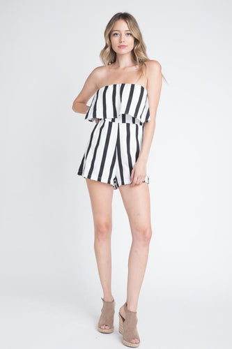 Women's Strapless Stripe Pocket Romper
