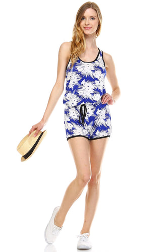 Women's Tropical Print Racer Back Sleeveless Romper