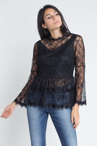 Women's Semi Lace Zipper Back Flare Sleeve Blouse