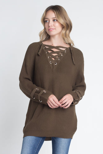 Women's Criss Cross Lace Up Loose Knitting Sweater