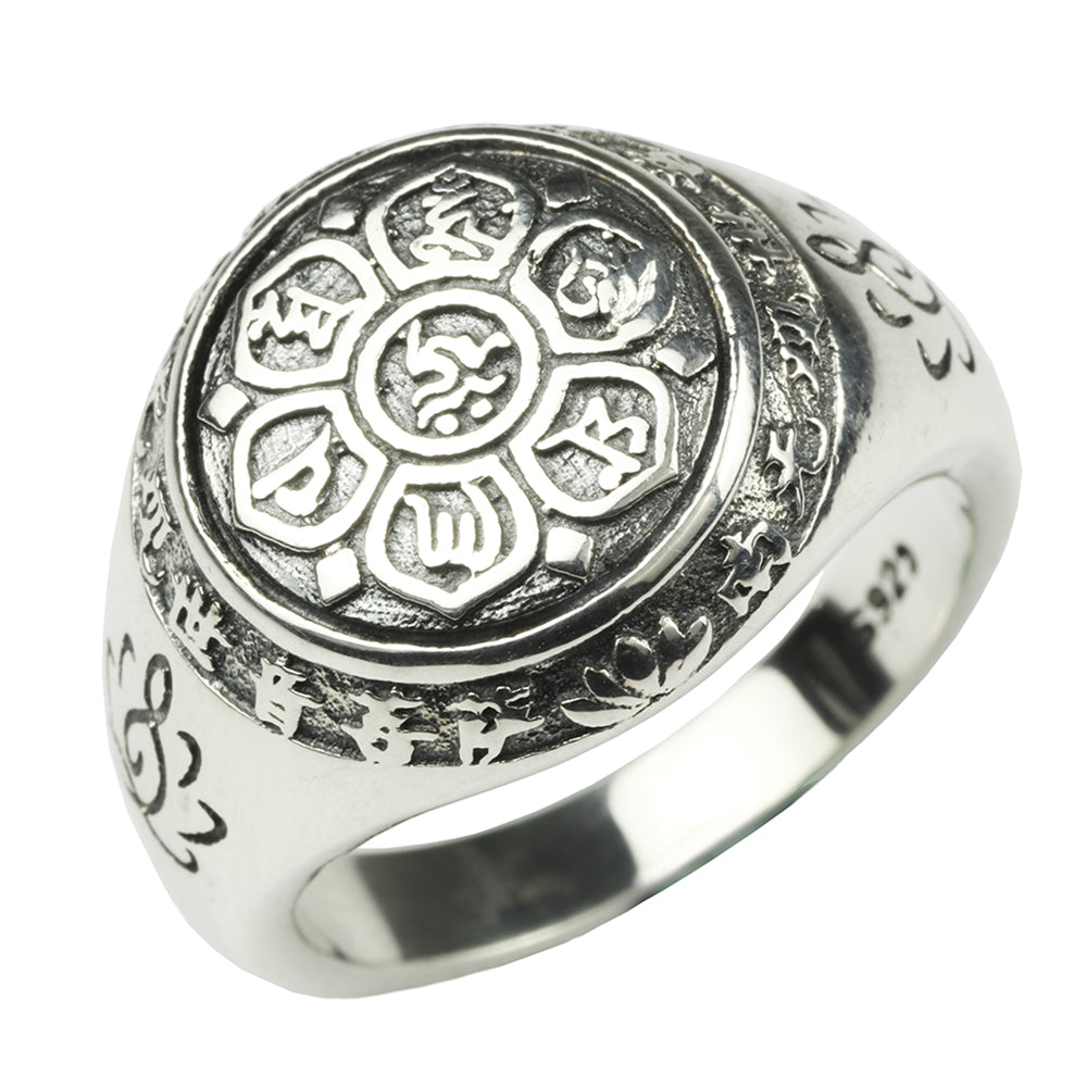 Mantra Lotus Flower Ring 925 Sterling Silver