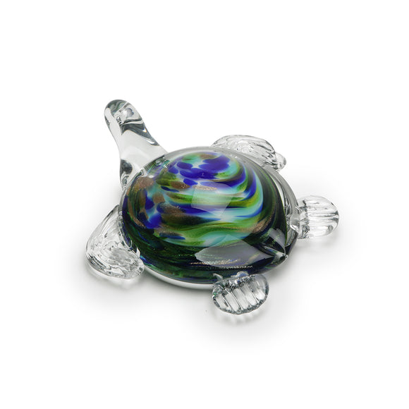 Art Glass Figurine: Sea Turtle - Tide Pool Green
