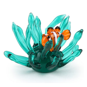 Art Glass Figurine: Mini Clownfish in Anemone