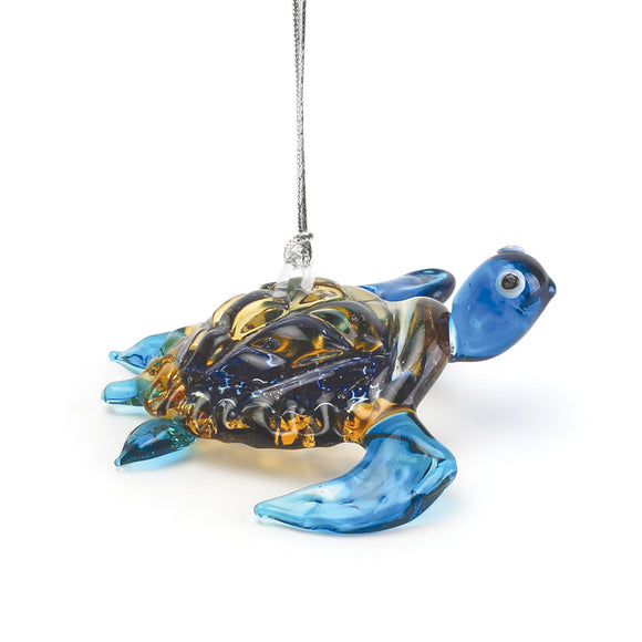 Art Glass Ornament: Honu (Blue)