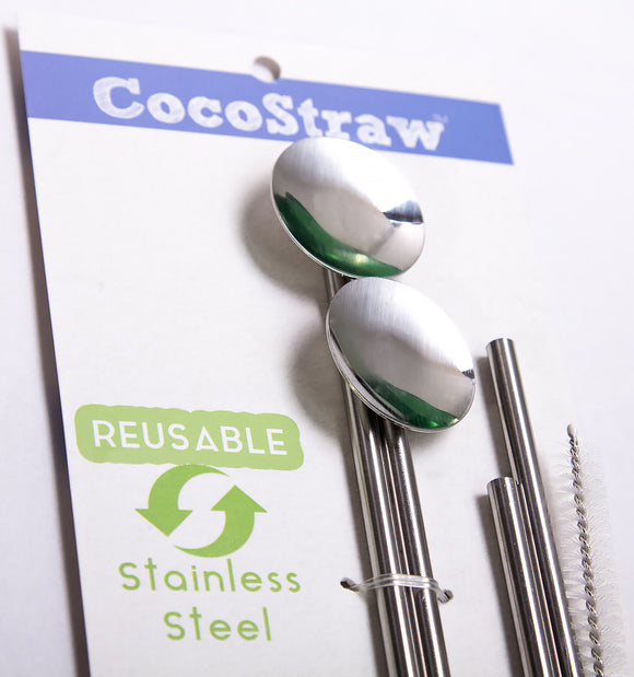Reusable Stainless Steel Spoon Straw
