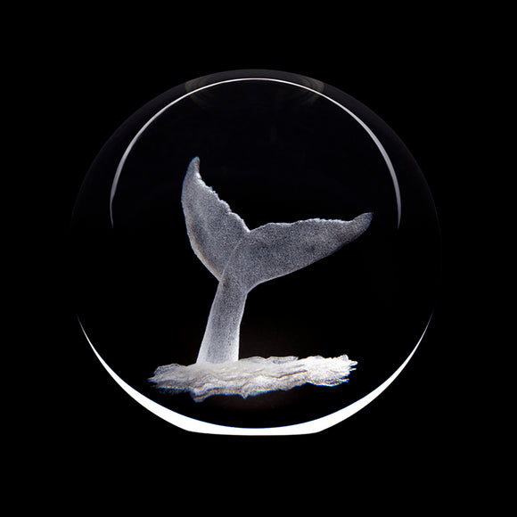 Art Glass Crystal Paperweight: Whale Tail