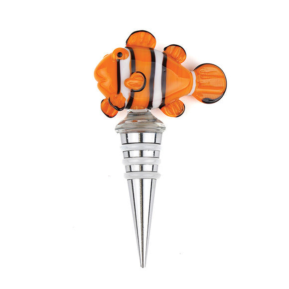 Art Glass Wine Bottle Stopper: Clownfish