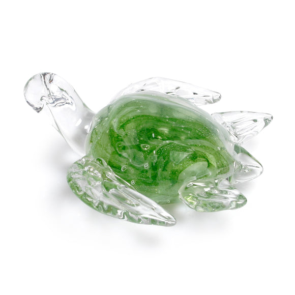 Art Glass Figurine: Sea Turtle – Green Glow