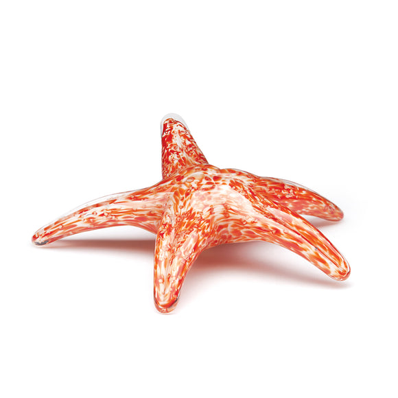 Art Glass Figurine: Walking Starfish in Orange Glow