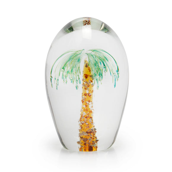 Art Glass Paperweight: Palm Tree