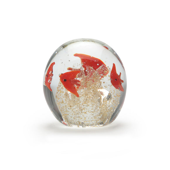 Art Glass Paperweight: Schooling Fish