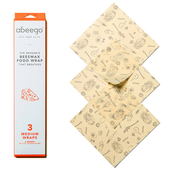 Abeego® Reusable Beeswax Wraps – Pack of 3 Medium Beeswax Wraps
